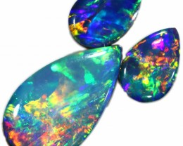 2.18 CTS  3 OPAL DOUBLET PARCEL DEAL GREAT COLOUR PLAY-A28