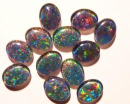 Parcel of 12 Australian Opal Triplets  B+ grade 9x7mm Multicol