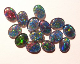 Parcel of 14 Australian Opal Triplets  B+ grade 8x6mm Multicolours (3195)