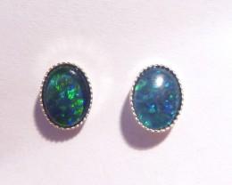 Pretty Australian Opal and Sterling Silver Earrings (3208)