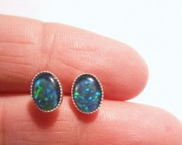 Pretty Australian Opal and Sterling Silver Earrings (3208)