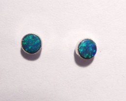 Pretty Australian Opal and Sterling Silver Earrings (3215)