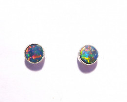 Pretty Australian Opal and Sterling Silver Earrings