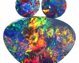 3.71 CTS  3 OPAL DOUBLET PARCEL DEAL GREAT COLOUR PLAY-A37