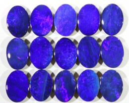 7.70CTS  15 PIECES CALIBRATED OPAL DOUBLET PARCEL GREAT COLOR PLAY -S308