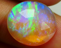 4.45 CRT BEAUTY FACETED CRYSTAL ROUND BROADFLASH GRASS WELO OPAL-