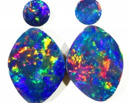6.83CTS Set 4 COOBER PEDY OPAL DOUBLET PARCELS GREAT COLOUR PLAY   S369