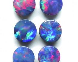 5mm  6 Stone Pair Australian Doublet Opal Parcel