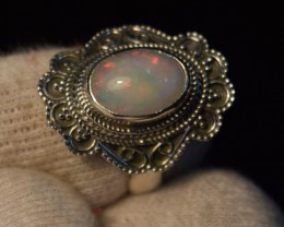 ETHIOPIAN OPAL SOLID RING 925 STERLING SILVER JE110