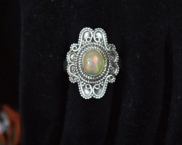 ETHIOPIAN OPAL SOLID RING 925 STERLING SILVER JE116