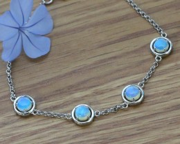Solid Crystal opals in tennis style silver bracelet SU  1482