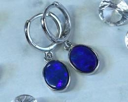 Blue fire doubletl opals in stylish clip  silver earrings SU 1485