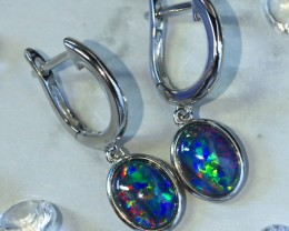 Multi fire  triplet opals in stylish clip  silver earrings SU 1486