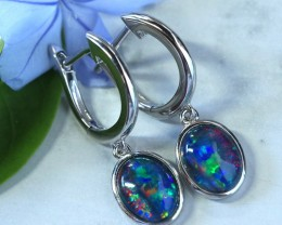 Multi fire  triplet opals in stylish clip  silver earrings SU 1487