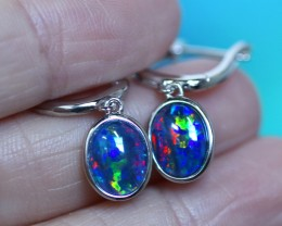 fire  triplet opals in stylish clip  silver earrings SU 1488