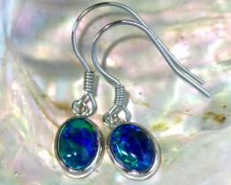 Cute  fire  triplet opals in stylish sheppard hook silver earrings SU 1489