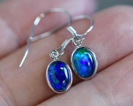Cute  fire  triplet opals in stylish clip  silver earrings SU 1491