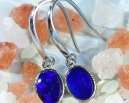Cute  blue  fire  Doublet opals in stylish silver earrings SU 1493