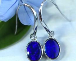 Cute  blue  fire  Doublet opals in stylish silver earrings SU 1495