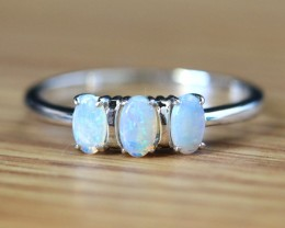 Cute  Crystal   opals in stylish silver ring  SU 1502