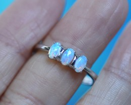 Cute  Crystal   opals in stylish silver ring  SU 1503