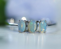 Cute  Crystal   opals in stylish silver ring  SU 1504
