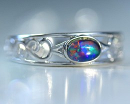 Cute  triplet  opals in stylish silver ring  SU 1505