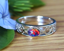 Cute  triplet  opals in stylish silver ring  SU 1506