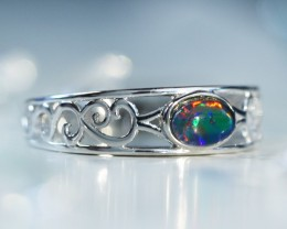 Cute  triplet  opals in stylish silver ring  SU 1507