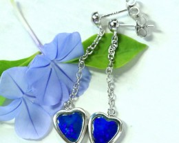 Blue fire opal doublet swing  silver earrings   SU 1510