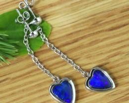 Blue fire opal doublet swing earrings   SU 1511