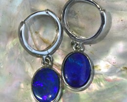 Blue fire opal doublet clip silver  earrings   SU 1512