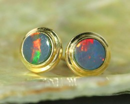 Fire flash boulder opal 9k gold earrings   SU 1513
