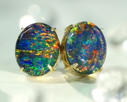 Large gem color chnage  triplet  opal in 14 k gold earrings   SU 1514