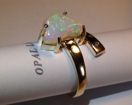 23.60 ct Stunning 10 k Solid Gold Diamond Gem Welo Freeform Ring