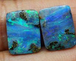 9.55CT VIEW PAIR QUEENSLAND BOULDER OPAL    TOM3