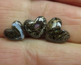 "7.5cts, ""3 X BOULDER OPALS~DRILLED HEART SHAPE STONES"""
