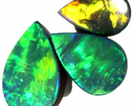 3.50 CTS  GEM OPAL DOUBLET SET 3 FROM LIGHTNING RIDGE. [SEDA1391]SAFE