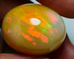 42.70 CRT BROWN MILKY PERFECT RIBBON FIRE PATTERN WELO OPAL-