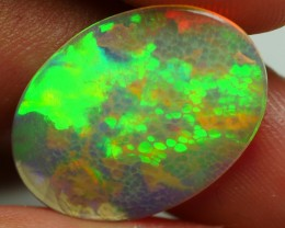 3.45 CRT CRACK FLAT FACETED HONEYCOMB PATTERN BEAUTY COLOR WELO OPAL-
