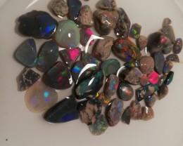 114 cts gem grade Lightning Ridge Black/crystal opal rub parcel