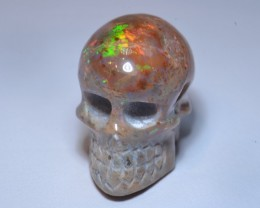 23.94 Skull Extremely Bright Carved in Mexican Matrix Opal Pendant