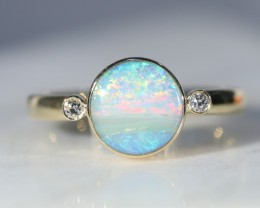 Australian Boulder Opal  and Diamond 18k  Gold Ring.  Size 7.25