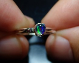 Sz7.25 MEXICAN SOLID CRYSTAL OPAL HIGH QUALITY .925 STERLING FABULOUS RING