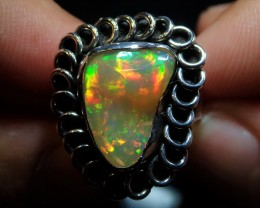 8sz  Ethiopian Solid Opal Ring Sterling Silver .925 Awesome Silveremith