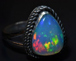 7.25sz  Ethiopian Solid Opal Ring Sterling Silver .925 Awesome Silveremith