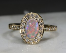 Natural Australian  Crystal    Opal and Diamond 18k Gold Ring - Size 7.25
