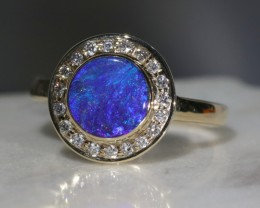 Natural Australian Blue Opal and Diamond  10K Gold Ring - Size 7.75