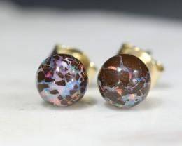 Natural Australian Opal Matrix Gold Earring Studs