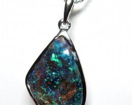 Australian Boulder Opal Freeform Hand Made 925 Silver Pendant
